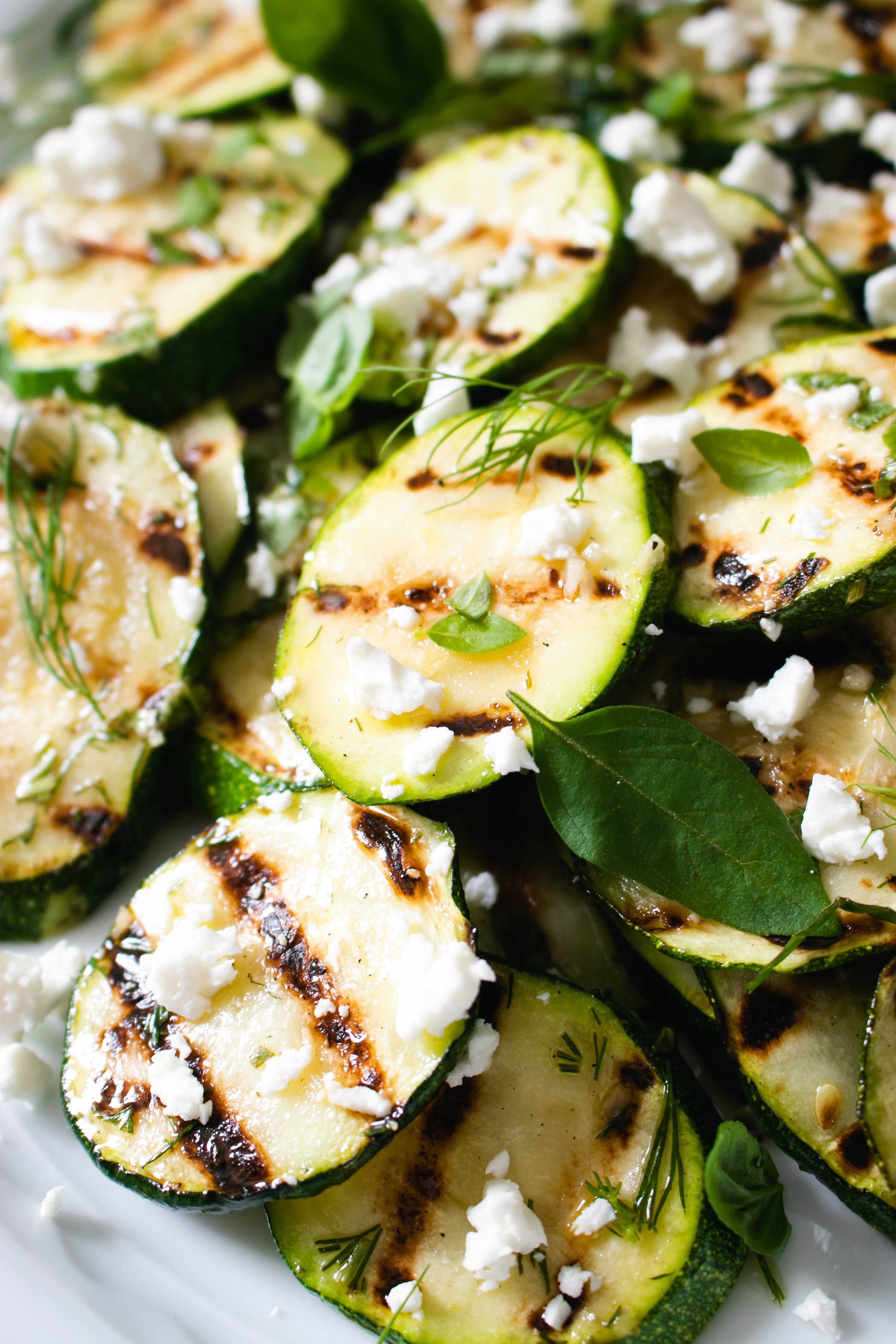 Grilled Zucchini with Lemon and Feta Cheese - The